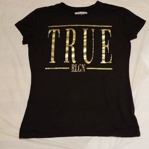 True Religion metallic graphic t-shirt women sz SM